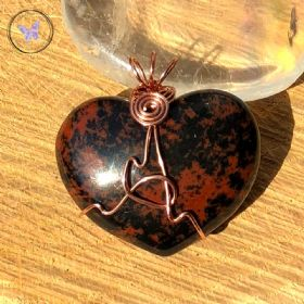 Mahogany Jasper Heart Copper Wire Wrapped Pendant